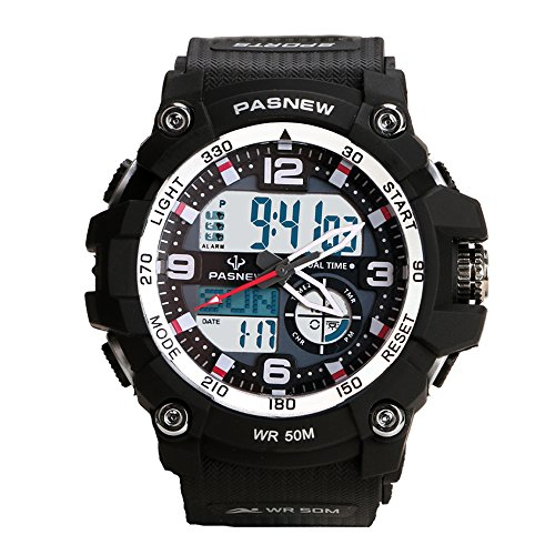 Teenagers Sport Watch   Multifunctional Wrist Clock   Analog Quartz   Digital Display   Dual Time Zone   Water Resistant   El Backlight   Stopwatch   3 Alarms   Chime   Pu Strap For Boys Girls Black