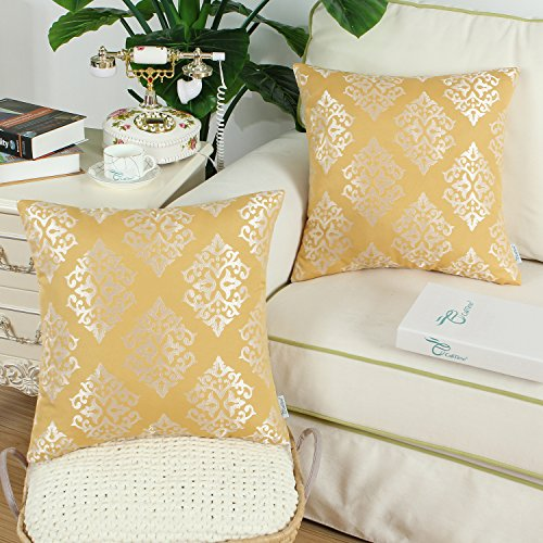 CaliTime Pack of 2 Soft Jacquard Throw Pillow Covers Cases Couch Sofa Home Decoration Vintage Damask Floral 18 X 18 inches Gold by CaliTime (Image #1)