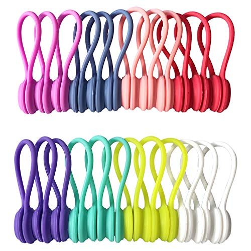Reusable Twist Ties with Strong Magnet for Bundling and Organizing Cables,Headphone Cables,USB Charging Cords,Hanging & Holding Keychain,Silicone Cord Winder Magnetic Cable Clips (8 Colors - 24 Pack)