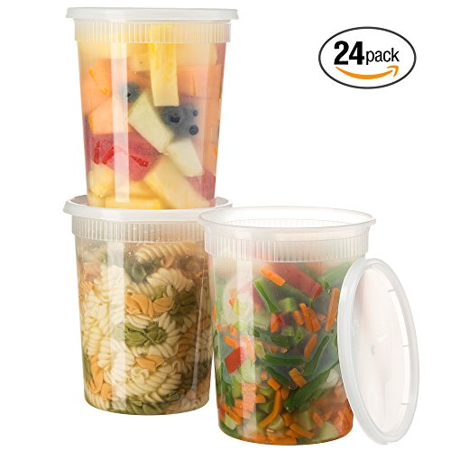 Basix Deli Food Storage Container With Lids 32 Ounce Pack Of 24 Deli Containers (Soup Storage)