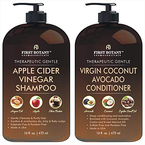 Apple Cider Vinegar Shampoo & Avocado Coconut Conditioner Set – Increase Shine & Reduces Itchy Scalp, Dandruff, Prevents…