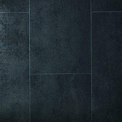 Gr/ö/ße:5.00x2.00 m livingfloor/® PVC Bodenbelag Fliese Anthrazit 2m Breite L/änge variabel Meterware