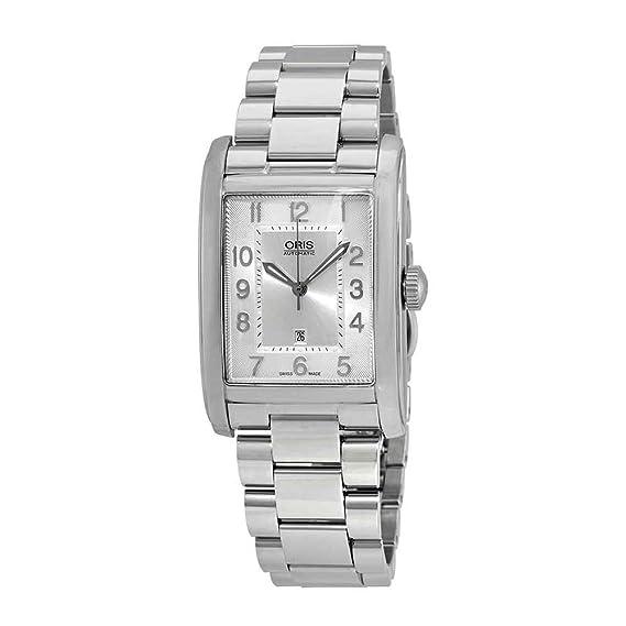 Oris 561-7693-4061MB - Reloj rectangular de acero inoxidable con esfera plateada para