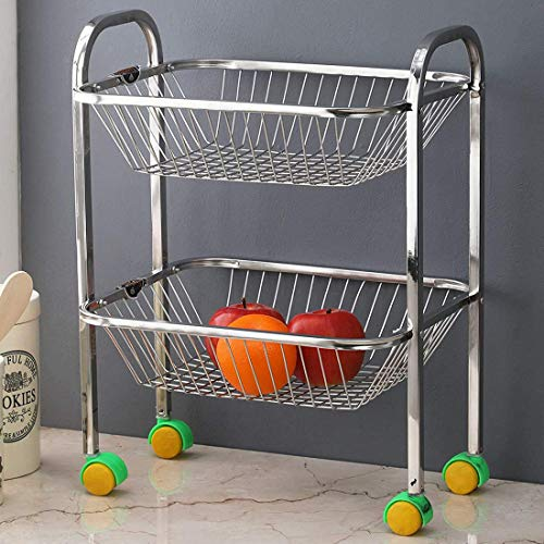 Oc9 2 Layer Stainless Steel Fruits/Vegetables Kitchen Trolley