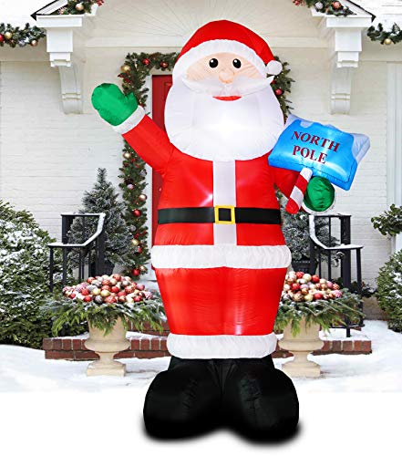 PARAYOYO 10 Ft Christmas Inflatable Santa Claus Decoration LED Lights Inflatable Xmas Santa Decorations for Home Yard Lawn Outdoor Indoor Night from PARAYOYO