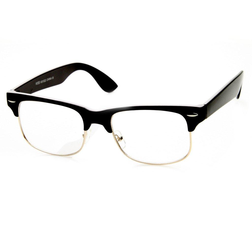 Amazon.com: Half Frame Clubmaster Style – Clear Lens Glasses – Men + ...