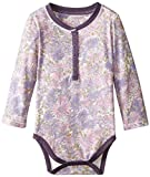 Burt's Bees Baby Girls' Organic Henley Watercolor Floral Bodysuit