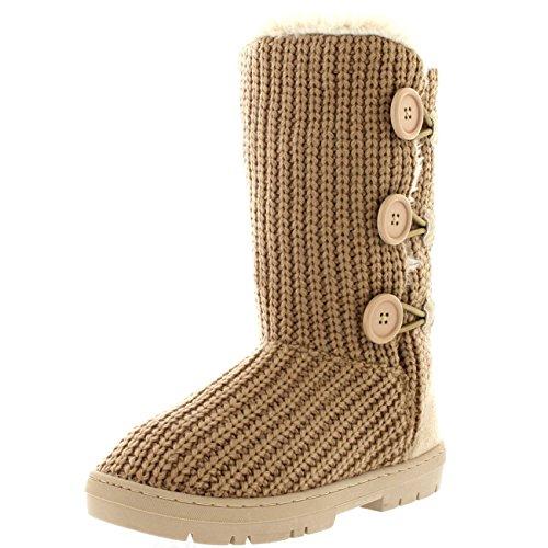 Mujer 3 Botón Clásico Lluvia Nieve Forrada De Piel Zapato Invierno Bota Beige De Punto