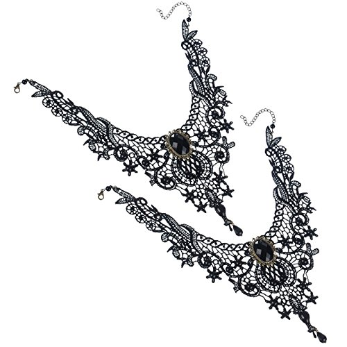 [Areke Gothic Lace Lolita Beads Pendant Choker Necklace for Women - Tassels Collar Black Style 2 Pcs] (Halloween Costume Ideas For Two Teenage Girls)