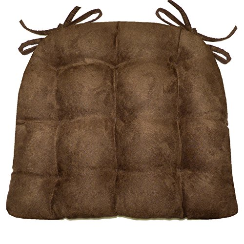 Barnett Products Dining Chair Pad with Ties - Microsuede Coffee Bean Brown Micro Fiber Ultra Suede - Reversible, Latex Foam Fill, Machine Washable (Coffee Bean Brown, Extra-Large) (Breakfast Seat Cushions Nook)
