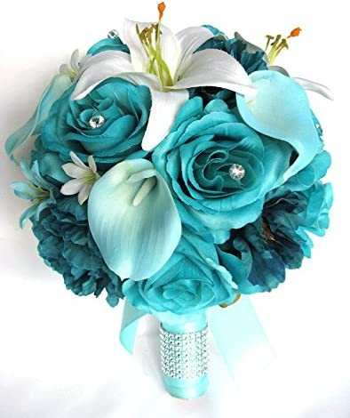 Amazon Com Wedding Bouquets Bridal Silk Flowers Turquoise Aqua