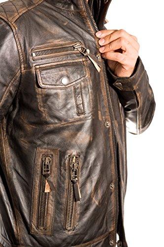 con collar caliente negro Brown Vintage apenado Ruboff chaqueta doble Hombres cuero Negro Uw0RfgFqU