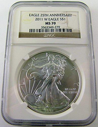 2011 W Silver Eagle 25th Anniv $1 MS70 NGC