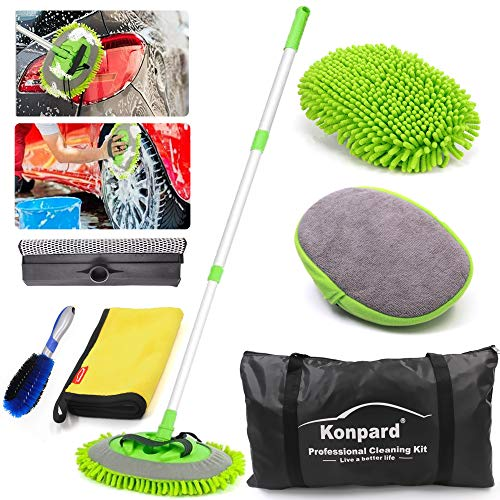 Konpard 7pcs Car Wash Brush Kits with 42.5″ Aluminum Alloy Long Handle,Car Wash Kit Auto Care–Exterior and Interior Cleaning–Tire Wheel Brush–Window Squeegee–Window Cleaner Tool-Tool Bag