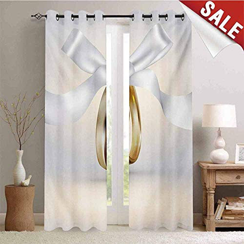 Wedding Blackout Draperies for Bedroom Pair of Wedding Rings with Ribbon Marriage Icon Realistic Celebration Photo Thermal Insulating Blackout Curtain W96 x L108 Inch White and Yellow