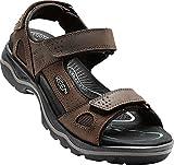 KEEN - Men's Rialto 3 Point Sandal for the Outdoors, Dark Earth/Black, 11 M US