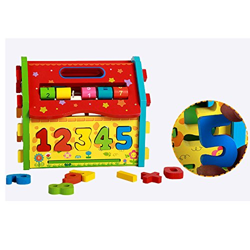 Baby Shape Sorting Houses TelPal Montessori Educational Toy Math Toy for Baby Kid's Gift, Novelty Educational Maths Game Wooden Toys by TelPal (Image #3)