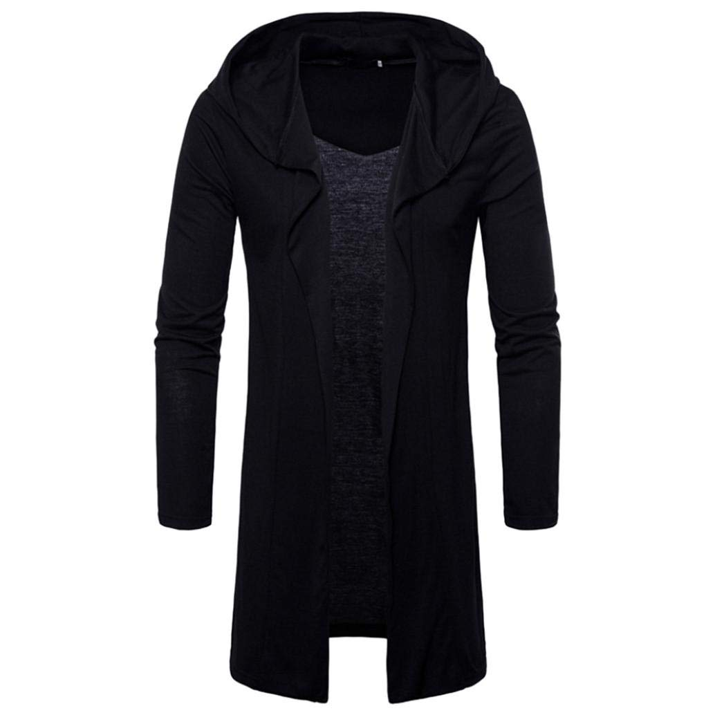 NREALY Blusa Mens Fashion Hooded Solid Trench Coat Jacket Cardigan Long Sleeve Outwear(2XL, Black)