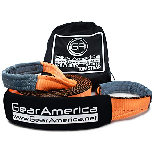 "GearAmerica Heavy Duty Recovery Tow Strap | 35,000 lbs (17.5 Tons) Strength | 3"" x20' Winch Extension 