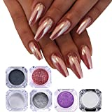 6 Boxes Unicorn Mermaid Nail Powder Rose Gold Black Purple Nail Glitter Pigments