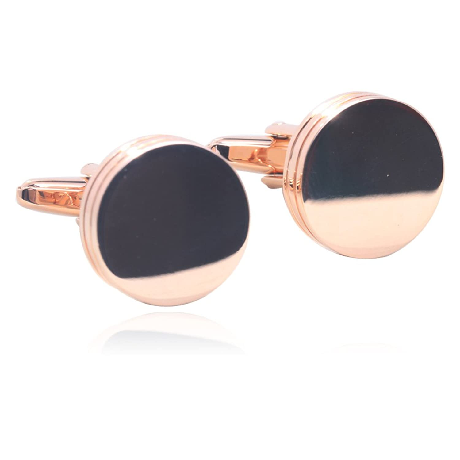 Smooth Round Cufflinks 18K Rose Gold Plated Gift Boxed By Digabi