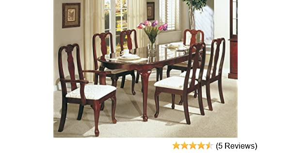 Shop Queen Anne Desk Chair Set Free Shipping Today >> Amazon Com 7pc Dining Table Set Queen Anne Style Cherry