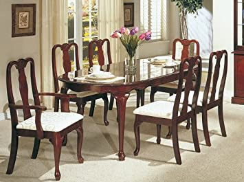 Astounding Amazon Com 7Pc Dining Table Set Queen Anne Style Cherry Download Free Architecture Designs Scobabritishbridgeorg