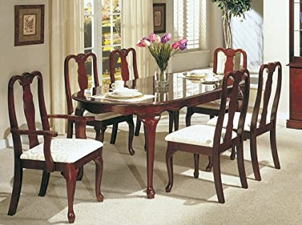 Merveilleux 7pc Dining Table Set   Queen Anne Style Cherry Finish