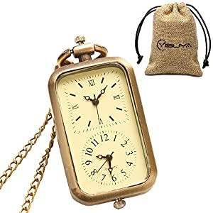 YISUYA Vintage Bronze Mechanical Hand-Wind Pocket Watch Hollow Steampunk Roman Number Dial Fob Watches for Men Women