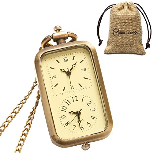 - YISUYA Vintage Bronze Doctor Who Retro Dr. Who Quartz Pocket Watch with Necklace & Gift Box (Square Pocket Watch)