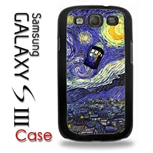 Samsung Galaxy S3 Plastic Case - Dr Who Tardis Starry Night Painting Phone Booth Call Box Blue