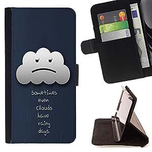 BullDog Case - FOR/Apple Iphone 4 / 4S / - / Sometimes Even Clouds Have Rainy Days /- Monedero de cuero de la PU Llevar cubierta de la caja con el ID Credit Card Slots Flip funda de cuer