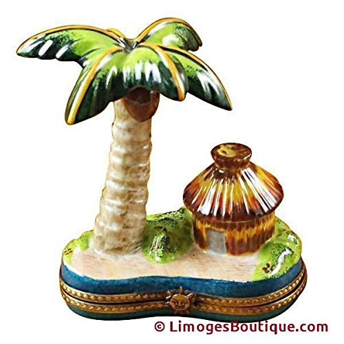 Palm Tree W/HUT - French Limoges Boxes - Porcelain Figurines Collectible Gifts ()