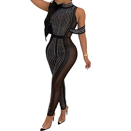 05ce69b2 Salimdy Womens Sexy Jumpsuits Clubwear - Sleeveless Halter Neck Rhinestone See  Through Mesh Bodysuits Bodycon Jumpsuit