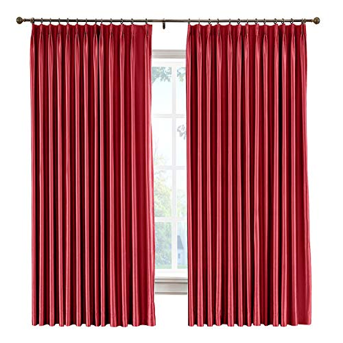 cololeaf Vintage Textured Faux Dupioni Silk Curtain Pinch Pleat for Traverse Rod Or Track, Living Room Bedroom Meetingroom Club Theater Patio Door,Red 100W x 96L Inch (1 panel) (Dupioni Silk Drapes Striped)
