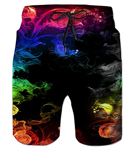 Belovecol Bathing Suits for Men 3D Print Colorful Smoke Beach Shorts Summer Board Shorts XL