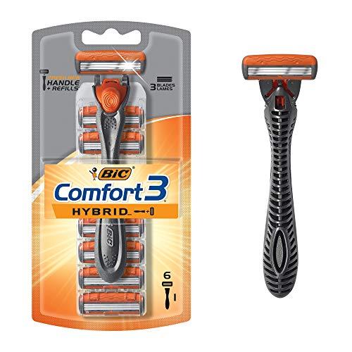 BIC Comfort 3 Hybrid Men's Razor, 1 Handle 6 Cartridges