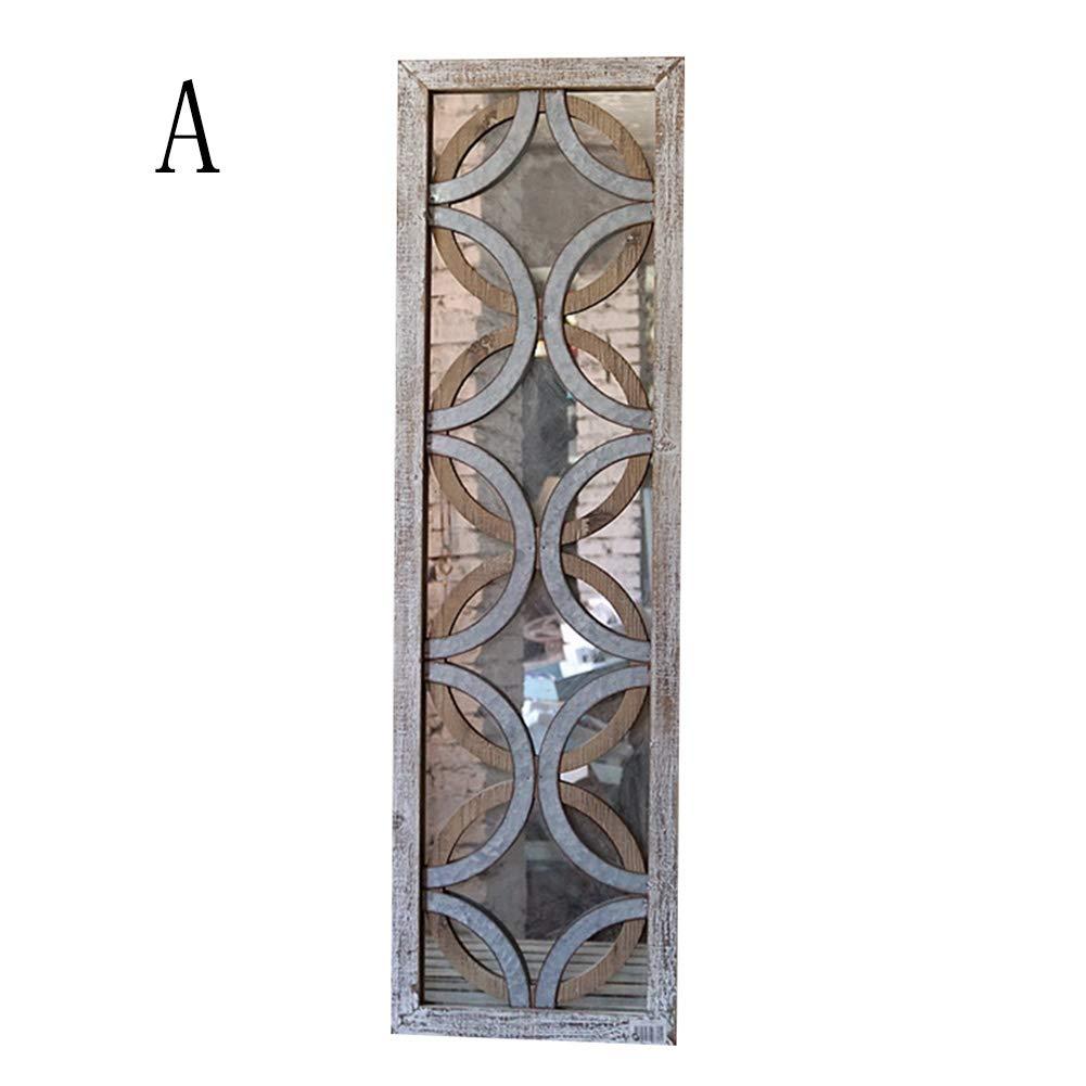 YANZHEN ミラー 壁に取り付けられたレトロ装飾古いリビングルームベッドルームの窓の形の長方形ノスタルジックなソリッドウッド、2つのスタイル (色 : A, サイズ さいず : 32x110cm) B07HD6N74J 32x110cm|A A 32x110cm