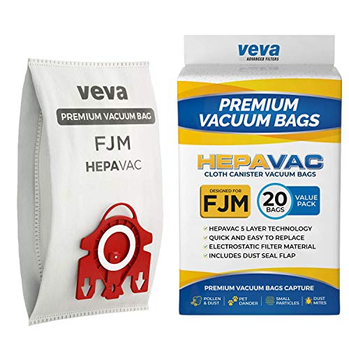 VEVA 20 Premium HEPA Vacuum Bags Style FJM and 8 Filters Compatible with Miele Vacuums Compact C1, C2; Complete C1 and AirClean 3D Efficiency Canister Bag