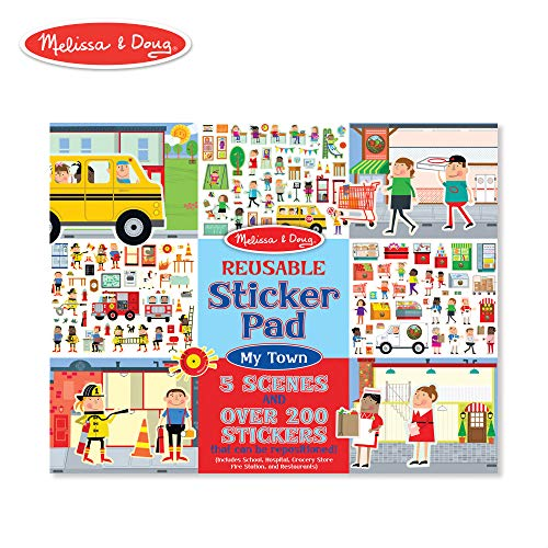 Melissa & Doug Reusable Sticker Pad - My Town, Extra Large Sticker Activity Pad, Removable Backgrounds, 200 Cling-Style Stickers, 14.05