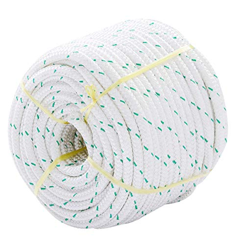 "Giantex 3/7"" X 150' Double Braid Polyester Rope Sling 5900lbs Breaking Strength Climbing Ropes, White"