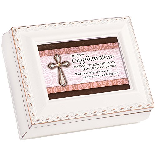 Cottage Garden Confirmation Follow The Lord as He Lights Ivory Rope Trim Tiny Square Jewelry and Keepsake Box ()