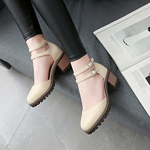 Elegante Beige Xinwcang Tacco Grosso Cinturino Tacco Scarpe Donna Caviglia Alto con nwRqgXwv