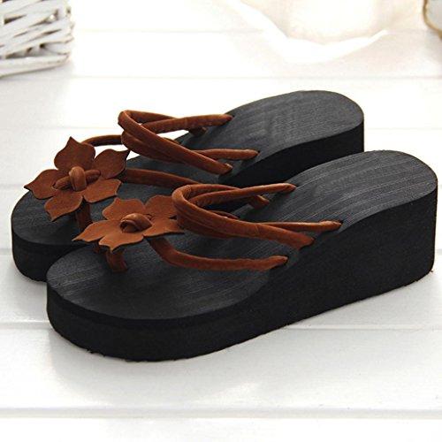 Tiean Femmes Loisirs Fleur Plate-forme Anti-dérapant Chaussures, Cales Talons Hauts Pantoufles Café