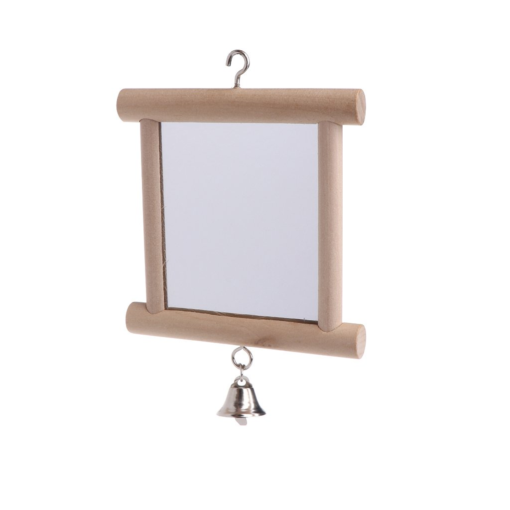 CADANIA Pet Toy Double Side Mirror Hang Cage Pappagalli Uccelli Swing con Campana di Legno