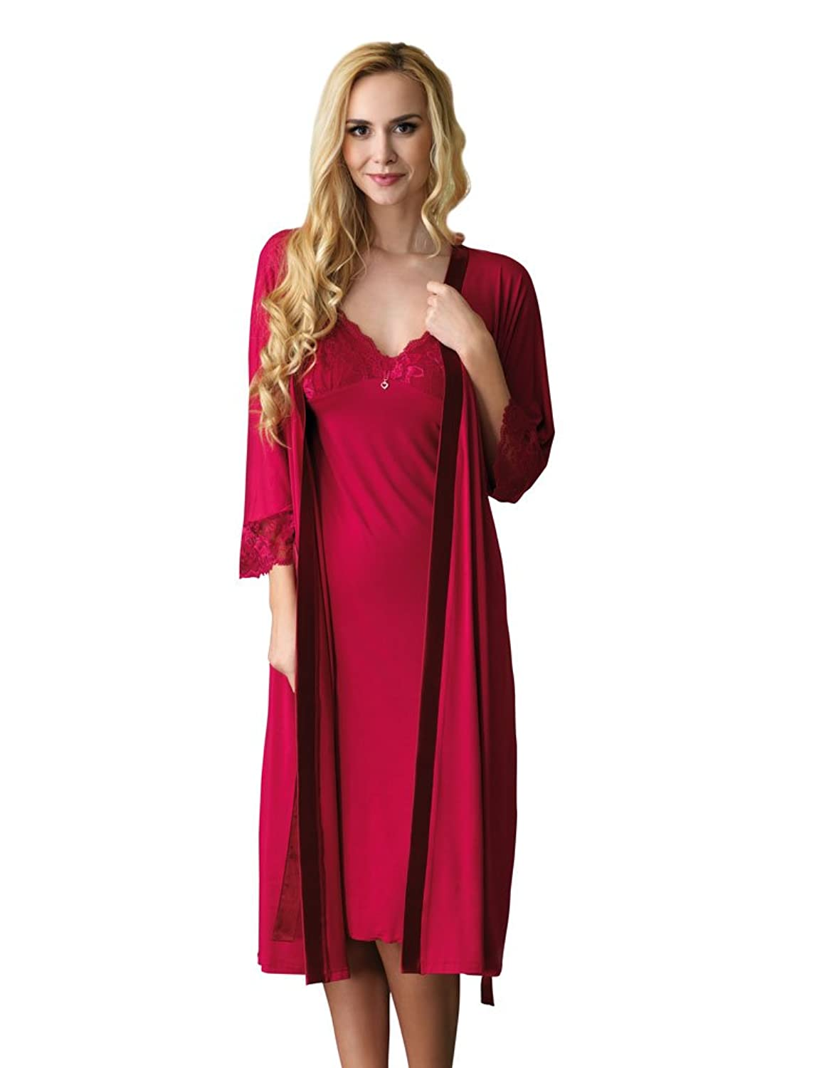 Vanilla 901R-07 Women's Classics Mia Ruby Red With Lace Dressing Gown Robe