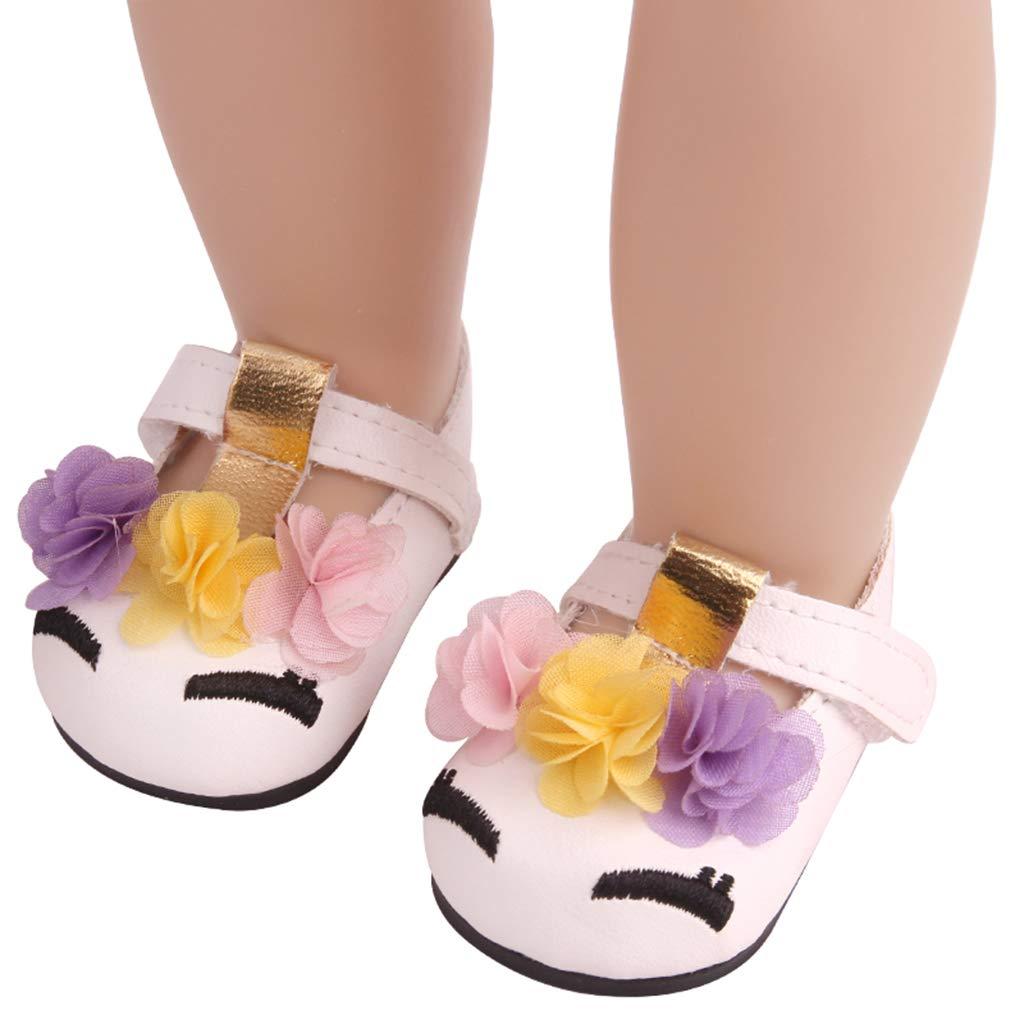 Rosa Perfeclan Puppenschuhe PU Lederschuhe Ballerinas Schuhe mit Blume f/ür 18 Zoll Amerikanische Puppe Kleidung Zubeh/ör