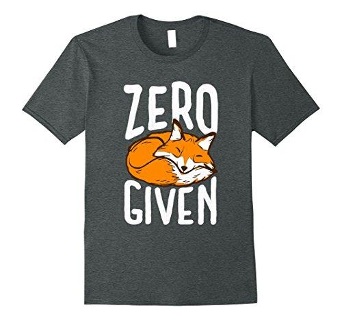 Mens Zero Fox Given   Funny Pun Graphic Birthday Gift T Shirt Xl Dark Heather
