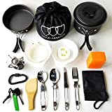 17Pcs Camping Cookware Mess Kit (4 COLORS: GREEN, ORANGE,...