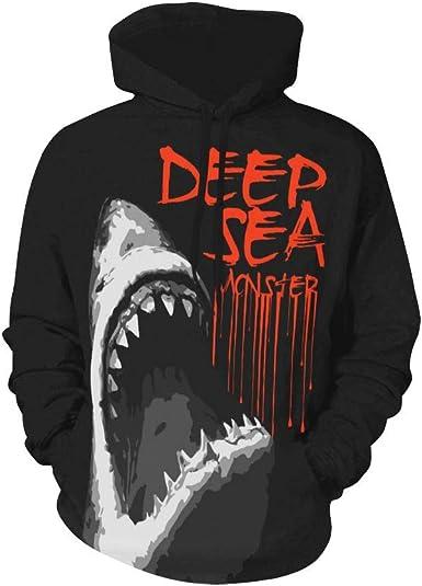 INTERESTPRINT Mens White Shark Hooded Sweatshirts